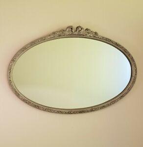 Vintage Oval Wall Mirror - Wood Frame, Silver, Ornate, Regency, Baroque