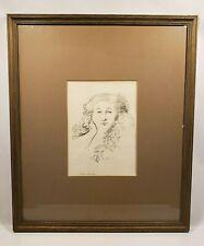 Signed VTG Woman Head Alvin Ross 1961 Art Framed Vincent Price Collection Rare
