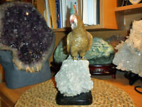 Gorgeous and Exceptional Natural Aragonite Gemstone Cockatoo Bird Carving