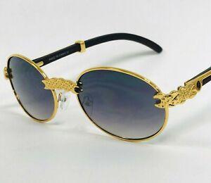 Men Eye Glasses Retro Classic Hip Hop Party Shades Vintage Metal Gold Buff Migos