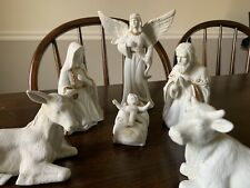 Lot 6 piece Ceramic bisque white nativity Set scene gold paint trim Christmas