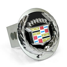 Cadillac Classic 3D Black Infill Logo Steel Tow Hitch Cover Plug