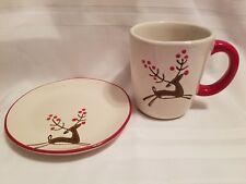 Christmas Mug Plate Set Reindeer Cup Saucer