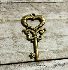 Heart Skeleton Key Pendant Antiqued Bronze Old Fashioned Skeleton Key Charm