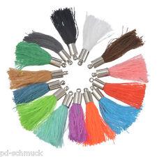 50 Mehrfarbig Quaste Troddel Anhänger Seide Kappe Tassel für Kleidung 3cm