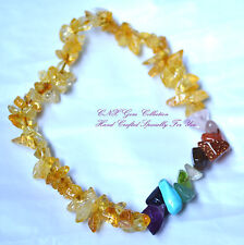 Gemstone Crystal Citrine ChipStone Chakra Bracelet Gemini Virgo May Jun Aug Sep