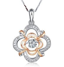Dancing Sterling Silver Halo Clover Cubic Zirconia Pendant Necklace Gift Box A8
