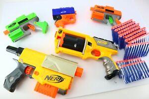 Small Sized Nerf Gun Blaster Lot - 5 Guns 100 Darts - Recon N-Strike & More