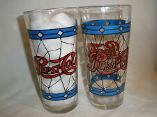 """PEPSI-COLA SODA 1970'S """"STAINED GLASS LOOK"""" 6-1/8"""" TALL GLASSES (2)"""