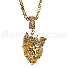 """KINGS LANDING"" Men's Luxury Stainless Steel Crown Lion Pendant Necklace Chain"