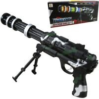 KIDS GATLING TOY GUN WITH LIGHTS SOUND VIBRATION FLIP BIPOD BOYS ARMY ROLE PLAY