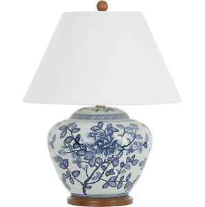 Ralph Lauren Large Lamp Chinese Painted Porcelain Floral Ginger Jar
