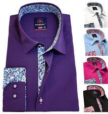 RICHBERRY Men's Shirts Plain cotton Regular Fit Formal collar Casual Long sleeve