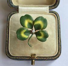 & Diamond Ring Circa 1800's An Unusual Four Leaf Clover Enamel