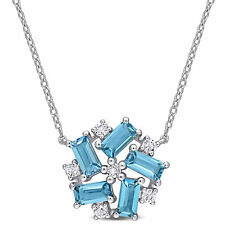 Amour Silver London Blue Topaz and White Topaz Clustered Mosaic Floral Necklace