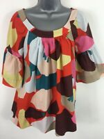 WOMENS FRENCH CONNECTION SHORT SLEEVE PATTERN MULTI COLOUR GYPSY BLOUSE SIZE 10