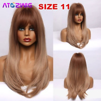 Ladies Wig Orange Mixed Natural Blonde Wavy Ombre Synthetic Hair Wigs With Bangs