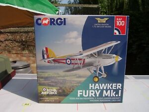 CORGI AVIATION 1/72 SCALE HAWKER FURY MK.1 K2065 RAF NO.1 SQDN TANGMERE 1932