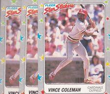 1988 Fleer Sticker Baseball Lot (3) Vince Coleman #117 Cardinals Nmmt/Mint*L1634