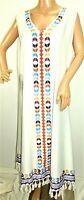 Women's Plus Size 4x ( 1X ) White Blue Black Boho Tassels Long Summer Sun Dress