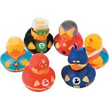 Superhero Rubber Ducks Lot of 12 Duckies Child Birthday Party Favors