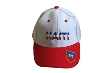 Haiti White Red Country Flag Embossed Hat Cap . New