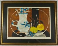 Vintage Mid Century Modern Lithograph Still Life w/Fruit by Yves Ganne Listed