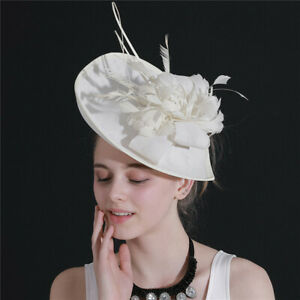 Ivory Feather Women' Wedding Party Hat Veil Church/Derby Prom Evening Formal Cap