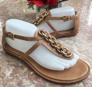 MICHAEL KORS Women's Brown Leather Gold Chain Gladiator Sandal Flats Size 8M EUC