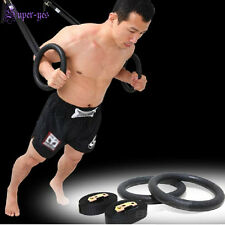 Gymnastic Rings w/ Straps Gym Crossfit Strength Training Pull Up Dips Fitness