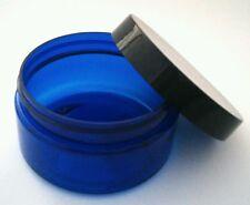 Wholesale Bulk 12 x 250g Blue Large Plastic Cosmetic Jar Packaging + Black Cap