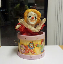 Circus Clown inside a Drum Wind Up Musical Box 1980's. Watch Demo Video