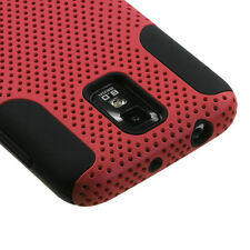 T-MOBILE SAMSUNG GALAXY S 2 II T989 DUAL LAYER SILICONE+HARD RUBBER CASE RED