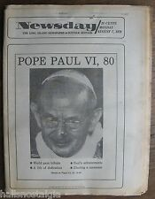 """Newsday"" Long Island Edition Paper August 7, 1978: Pope Paul VI Deceased at 80"