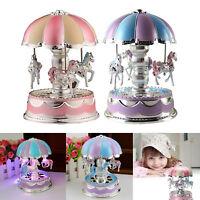 Girl Boy Baby Kids LED Horse Carousel Music Box Toys Musical  Birthday Xmas Gift