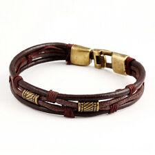 Punk Men Braided Genuine Leather Stainless Steel Cuff Bangle Bracelet Wristband