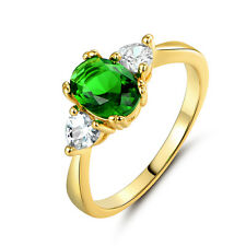 Luxury 24k Yellow Gold Filled 6*7mm Emerald Cameo Women Lady Wedding Party Rings