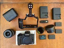 Canon EOS M50 + 15-45mm lens + Viltrox booster + Smallrig cage + 4 batteries!