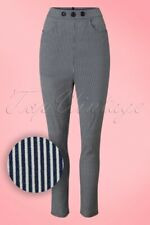 Collectif Navy Talis Striped Cigarette Trousers 4Xl/22 Rockabilly Pinup Vlv