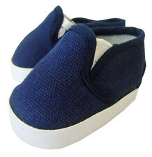 "Navy Canvas Sneaker Slipon Shoes for 18"" American Girl Doll Boy Logan Clothes"