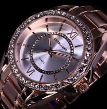 Excellanc Uhr Damenuhr Armbanduhr Silber Rosegold Farben Metall Strass RS 21