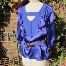 Maglie e camicie da donna a manica corta blu in seta
