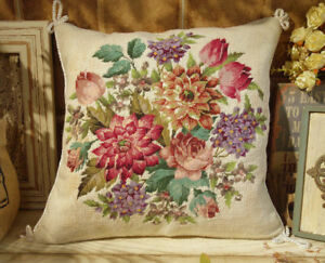"16"" Fabulous Whole Petit Point Dahilia Rose Floral Handmade Throw Pillow"