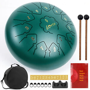 Steel Tongue Drum 12 inch 13 Notes Percussion Instrument w/Drum Mallets Bag Book