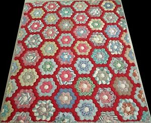 Antique 1920's Hand Stitched 7 spi Red Feed Sack Flower Garden Quilt 70x61