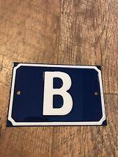 "Vintage Style Blue Enamel House Door Letter Sign/Plaque ""B"""