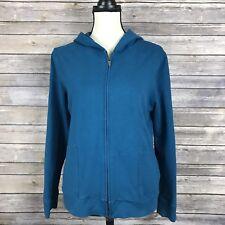 Talbots Women's Teal Full Zip Hooded Jacket Casual Long Sleeve Hoodie Size L