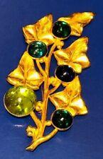Vintage Philippe Ferrandis Paris Leaf Pin w Cabochon Stones Neiman Marcus Tag