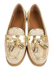 Tory Burch Careen Loafers Raffia Flats Shoes Tassels Gold 7.5M $295