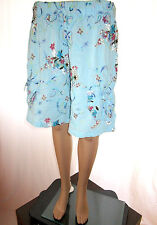 Womens Vtg 70s Blue Embroidery Floral Print Hippy Embellish Oversize Shorts AG61